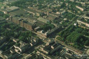 Fabryka POLTEX - widok w kierunku północno-zachodnim. Pałac Poznańskiego