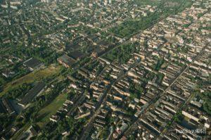 POLTEX Zdjęcie lotnicze śródmieścia Łodzi i fabryki Poltex