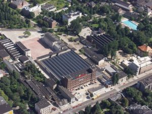 Fabryka Olimpia Piotrkowska 250, widok od ul. Piotrkowskiej